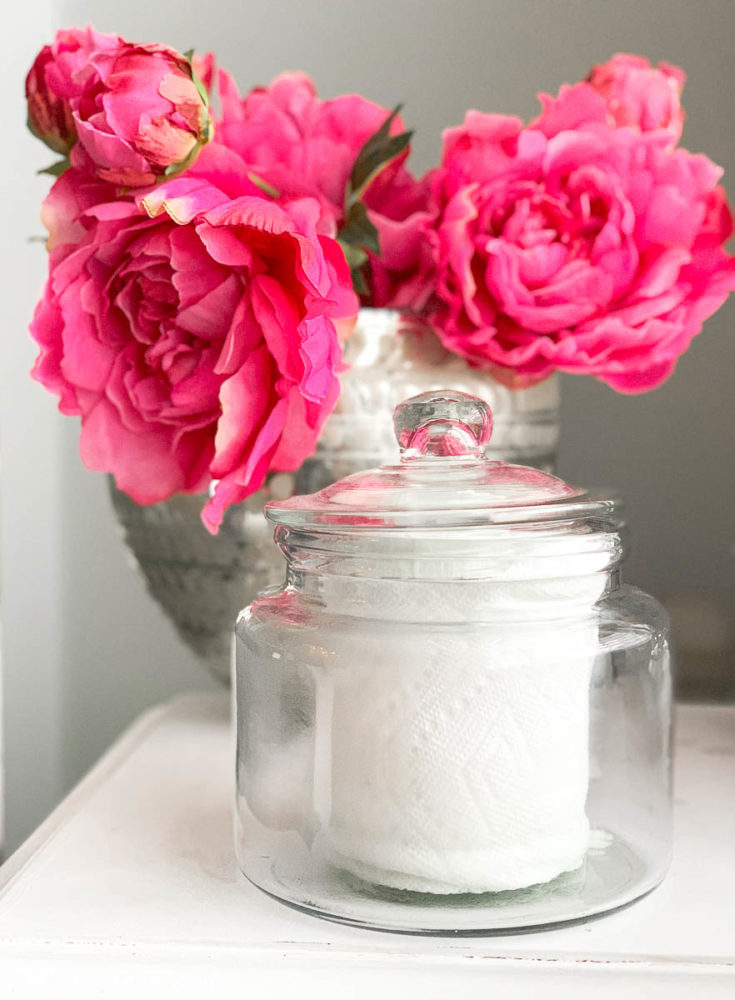 a small glass canister is a perfect container for DIY disinfecting wipes.