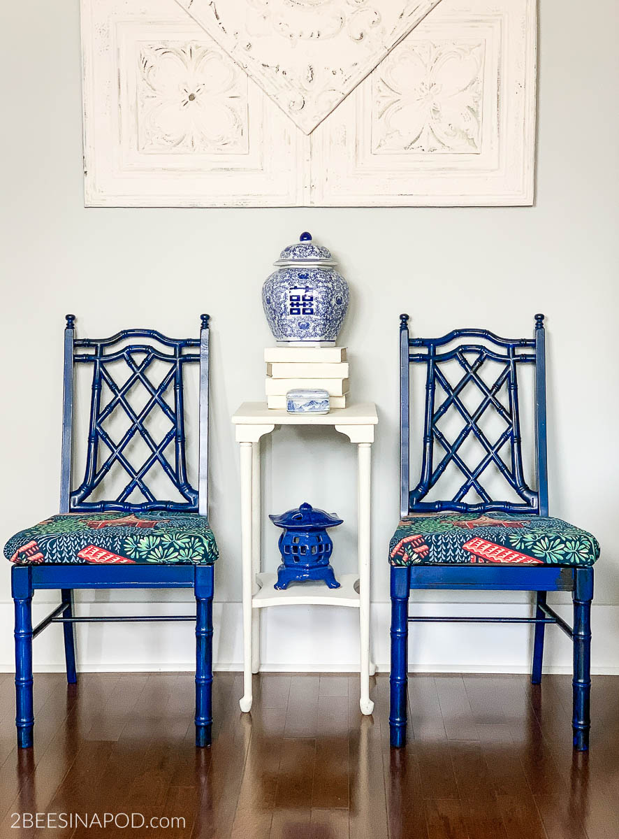 Painted Bamboo Chair Makeover