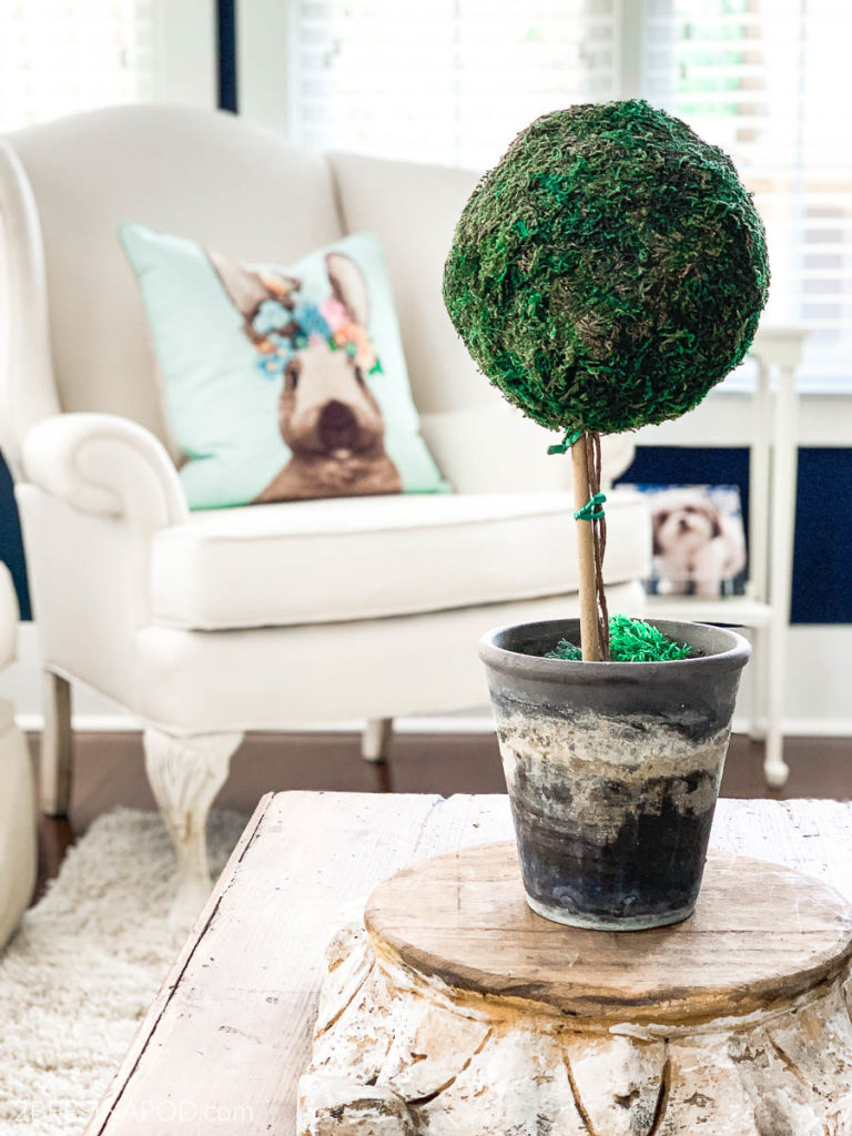 Spring Living Room Decor with bunny pillow and moss ball topirary