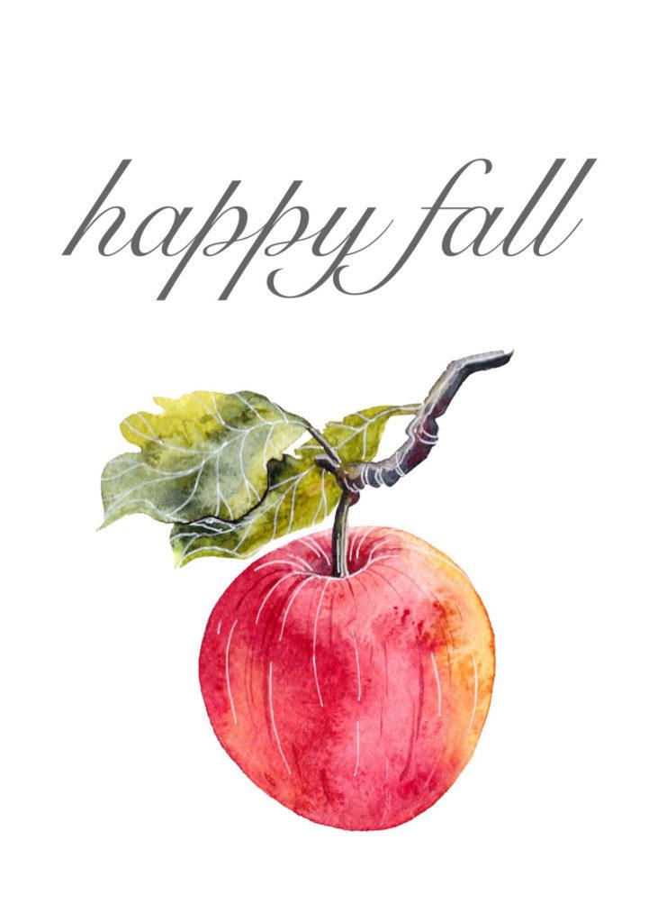 Free Fall Apple Printable - 2 Styles. Happy Fall Apple Printable