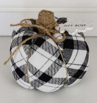 Pumpkin with Buffalo Check Fabric