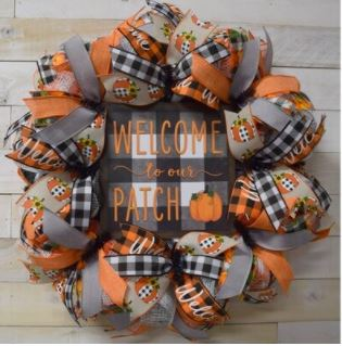 Orange and Buffalo Check Wreath for Fall