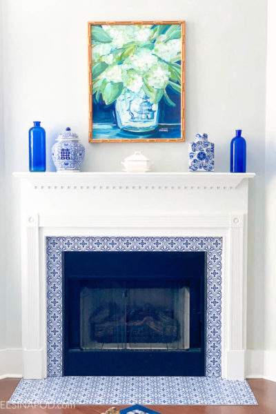 Fireplace Makeover with Sticker Tiles