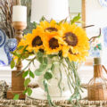 Easy Fall Sunflower Centerpiece looks beautiful in the dining room