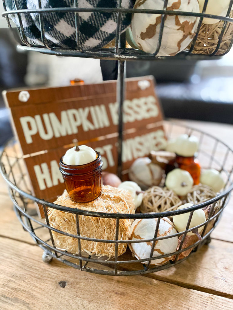 Neutral pumpkins and fall wooden sign