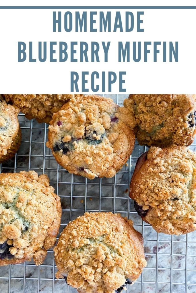Homemade recipe for blueberry muffins