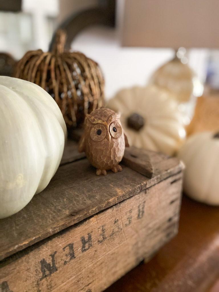 wood owl fall decor