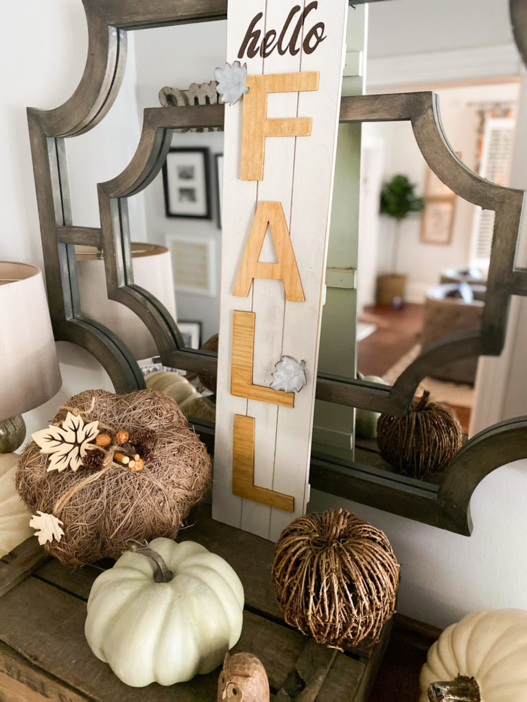 Fall decorating for entryway