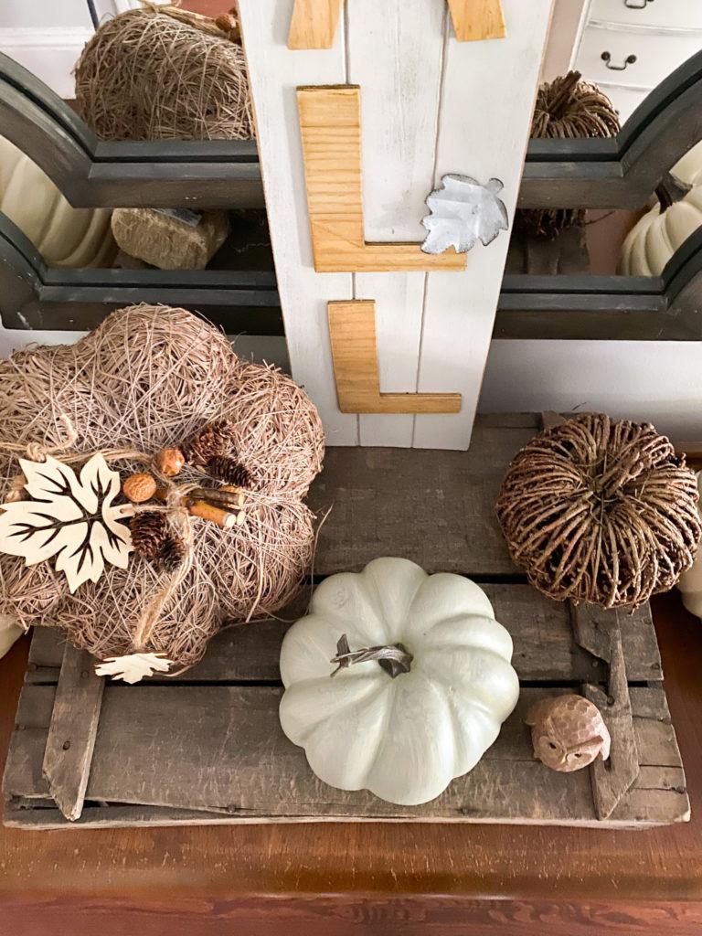 Wood pumpkin decor