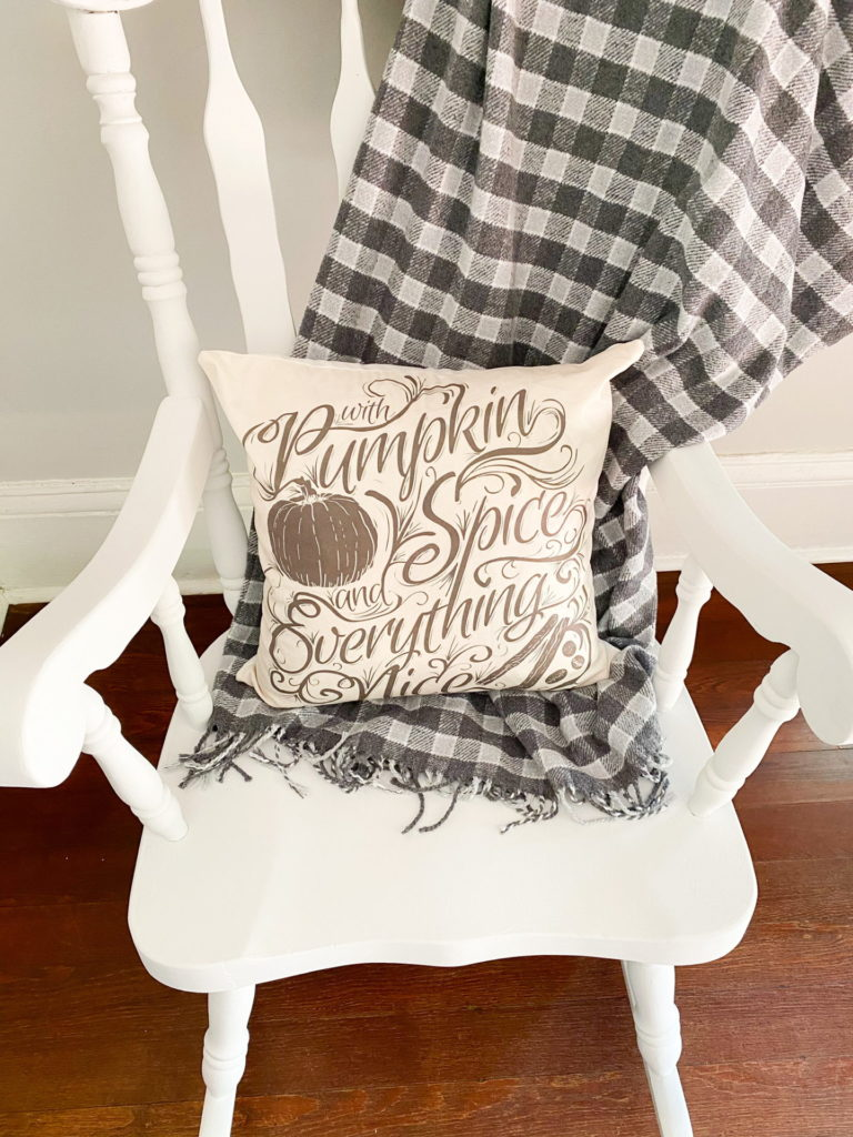 White chalk painted vintage rocking chair