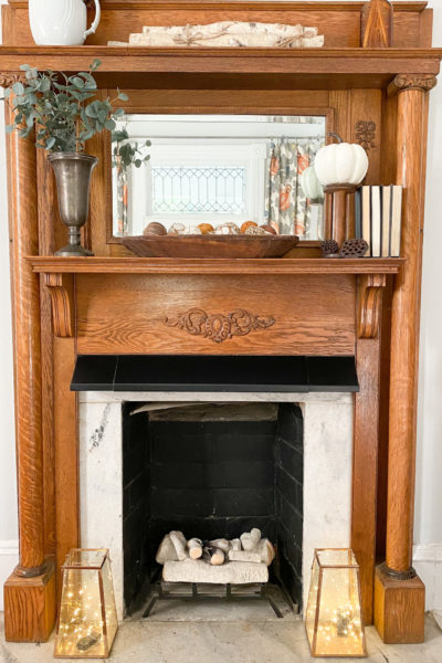 Simple Fall Mantel Decor
