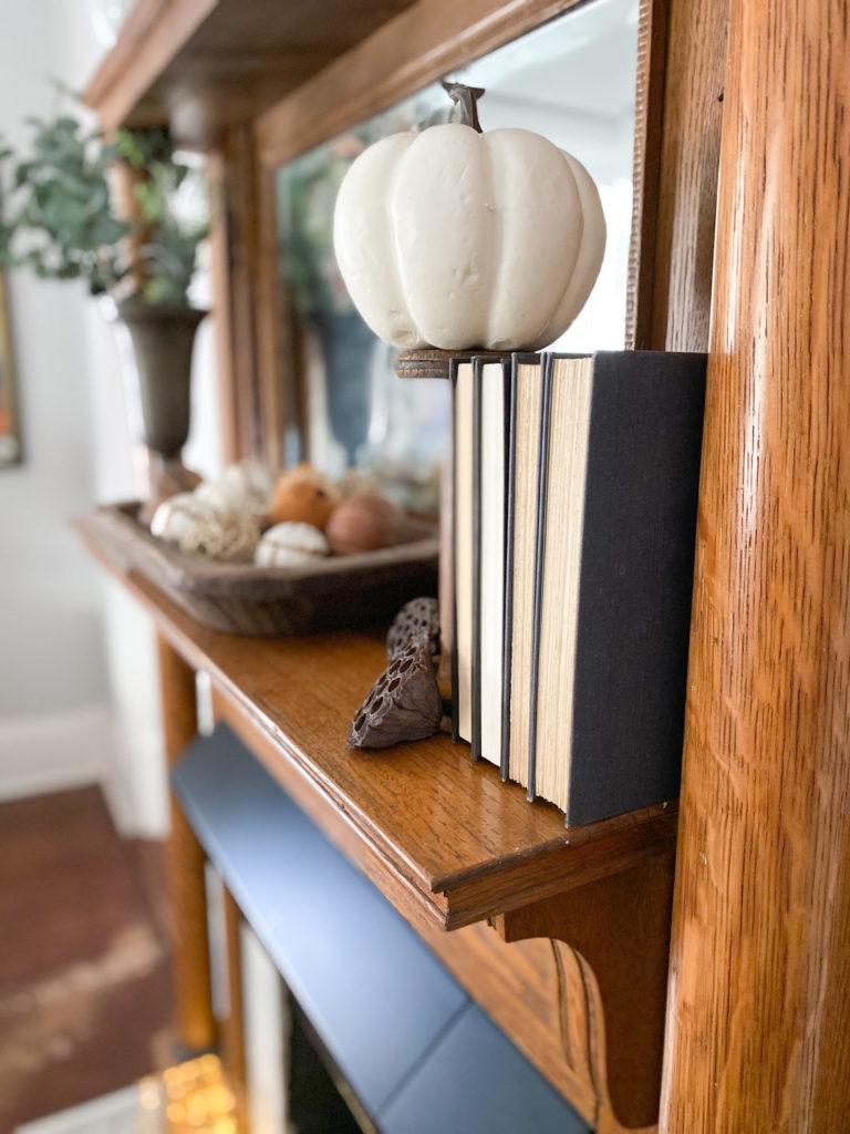 Books in simple fall decor
