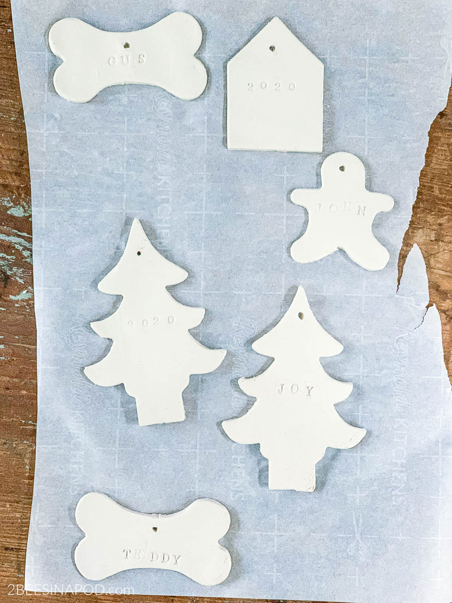 Air Dry Clay Christmas Ornaments - Using Cookie Cutters - let dry completely