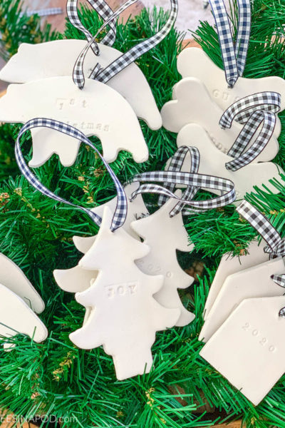 Air Dry Clay Christmas Ornaments - Using Cookie Cutters - display or hang ornaments on greenery