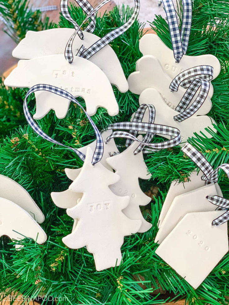 Air Dry Clay Christmas Ornaments - Using Cookie Cutters
