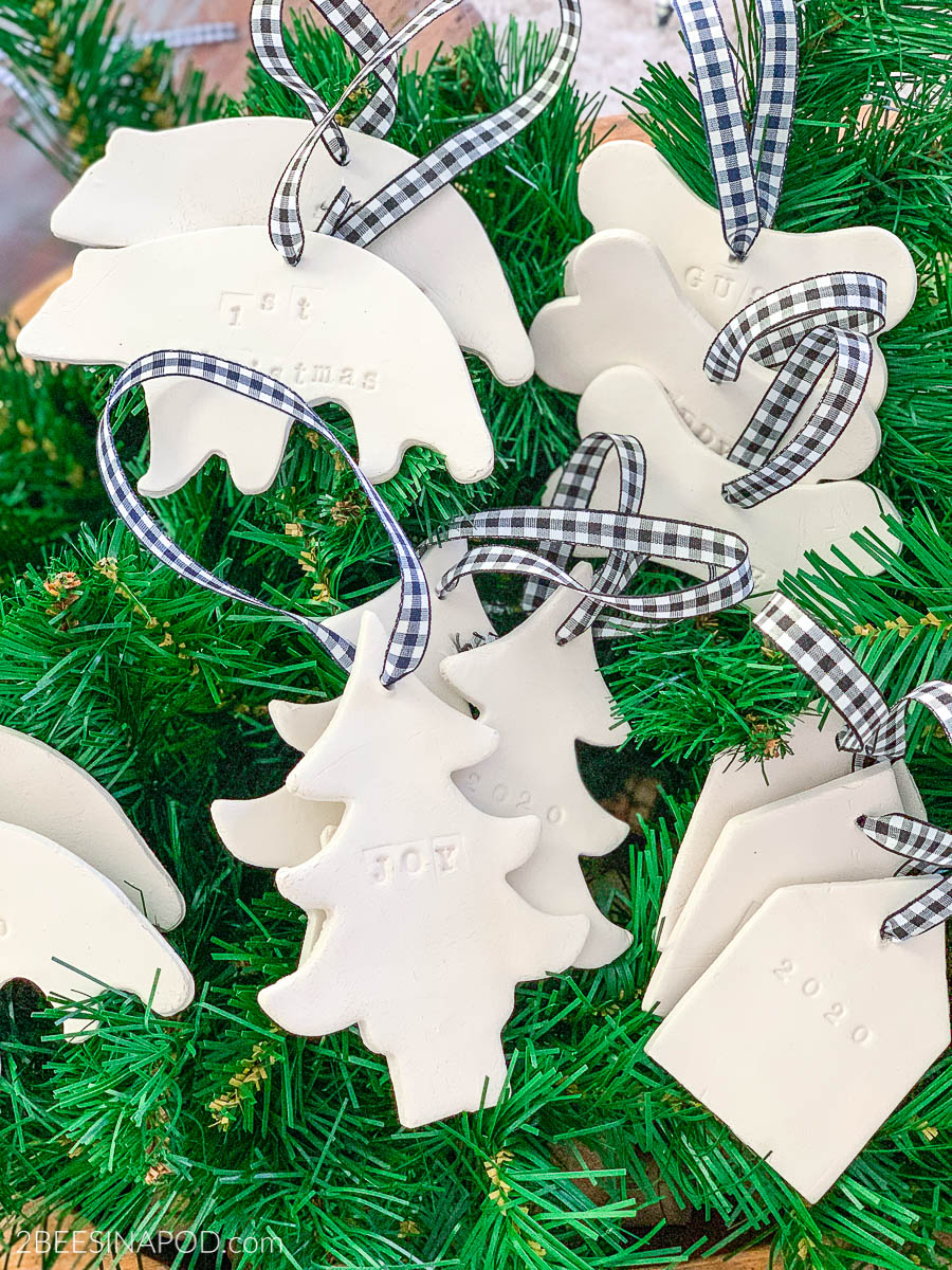 Air Dry Clay Christmas Ornaments – Using Cookie Cutters