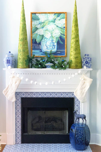 Blue and Green Christmas Mantel Decor