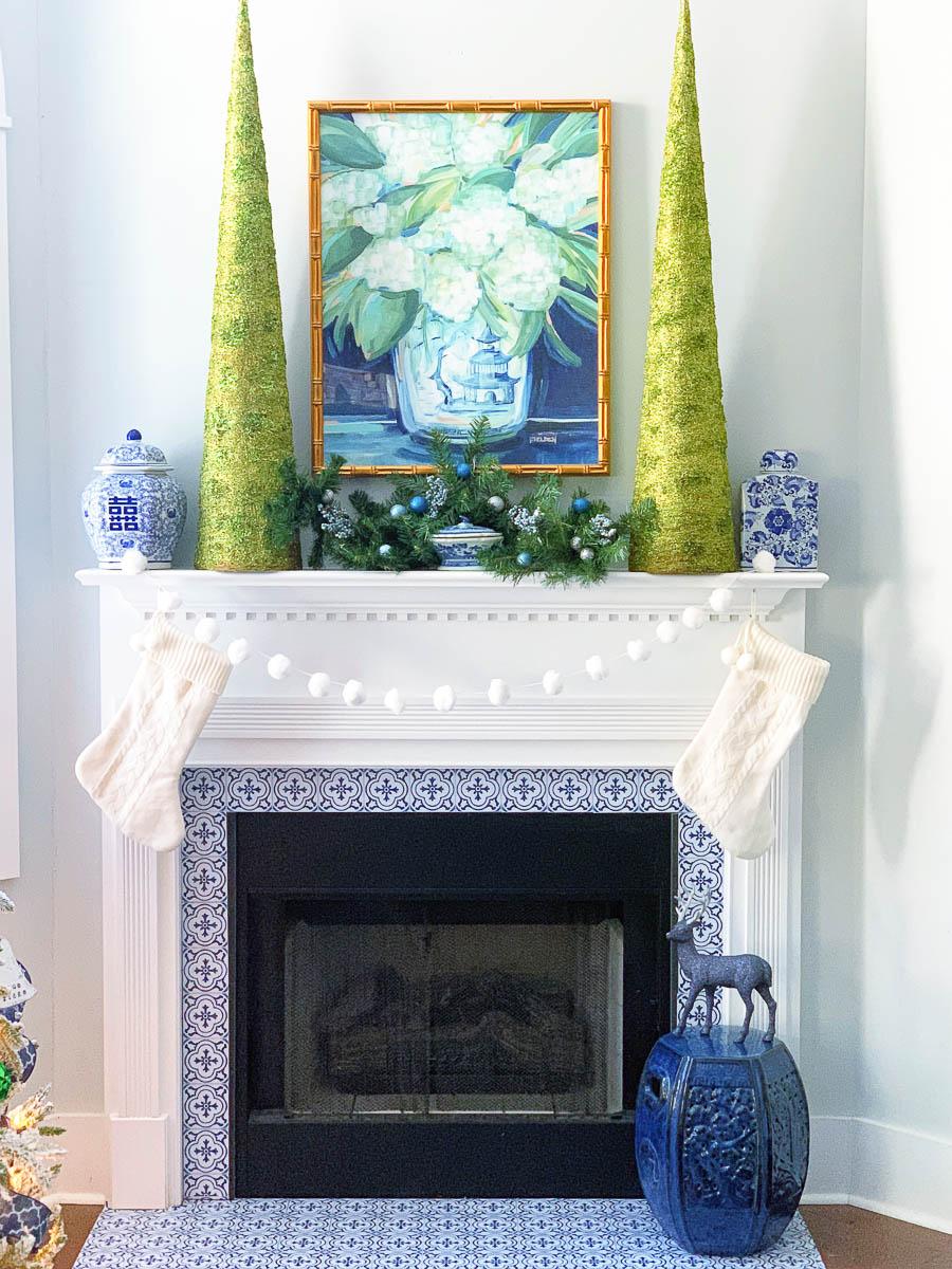 Blue and Green Christmas Mantel Decor