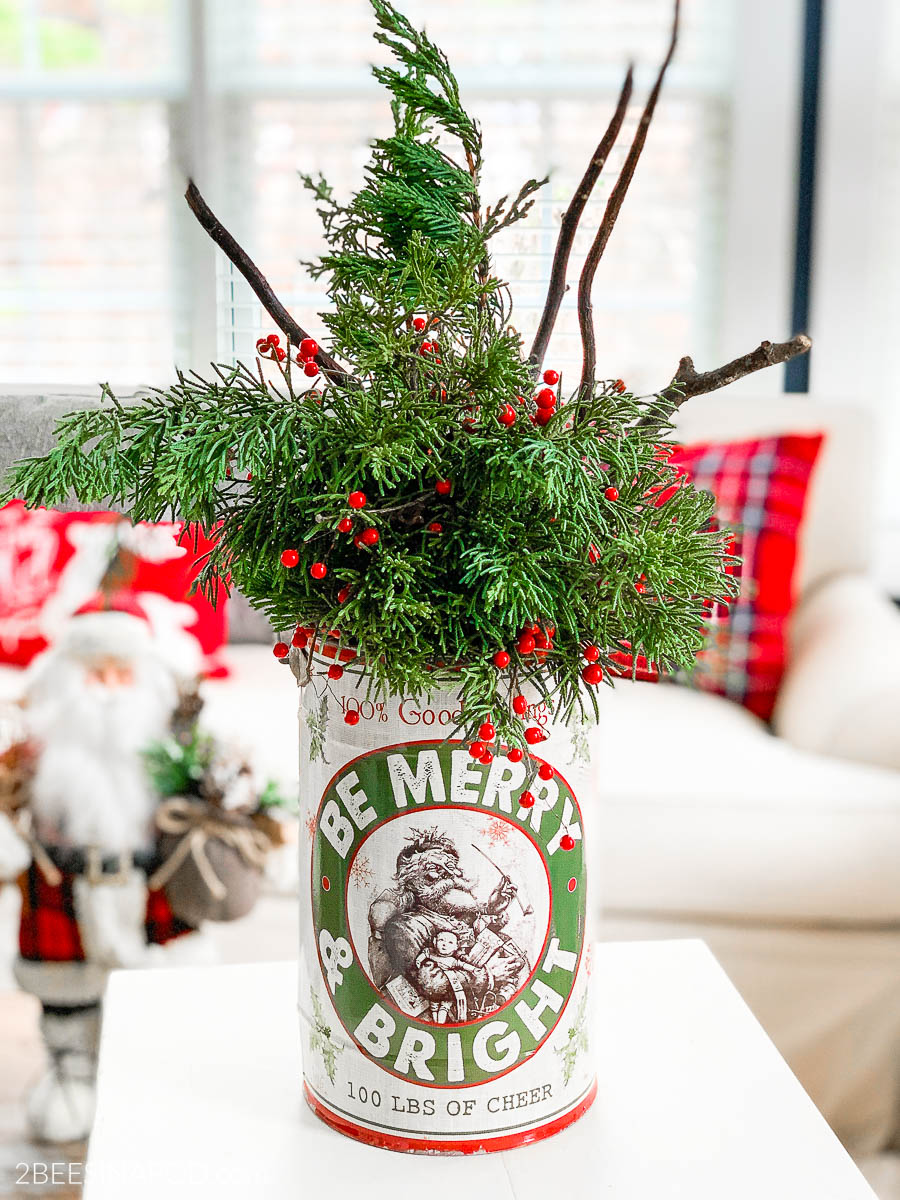 Easy Christmas Evergreen Centerpiece