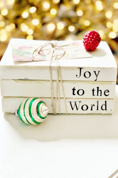 Stamped Book Stacks for Christmas