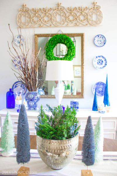 Blue and Green Christmas Dining Room