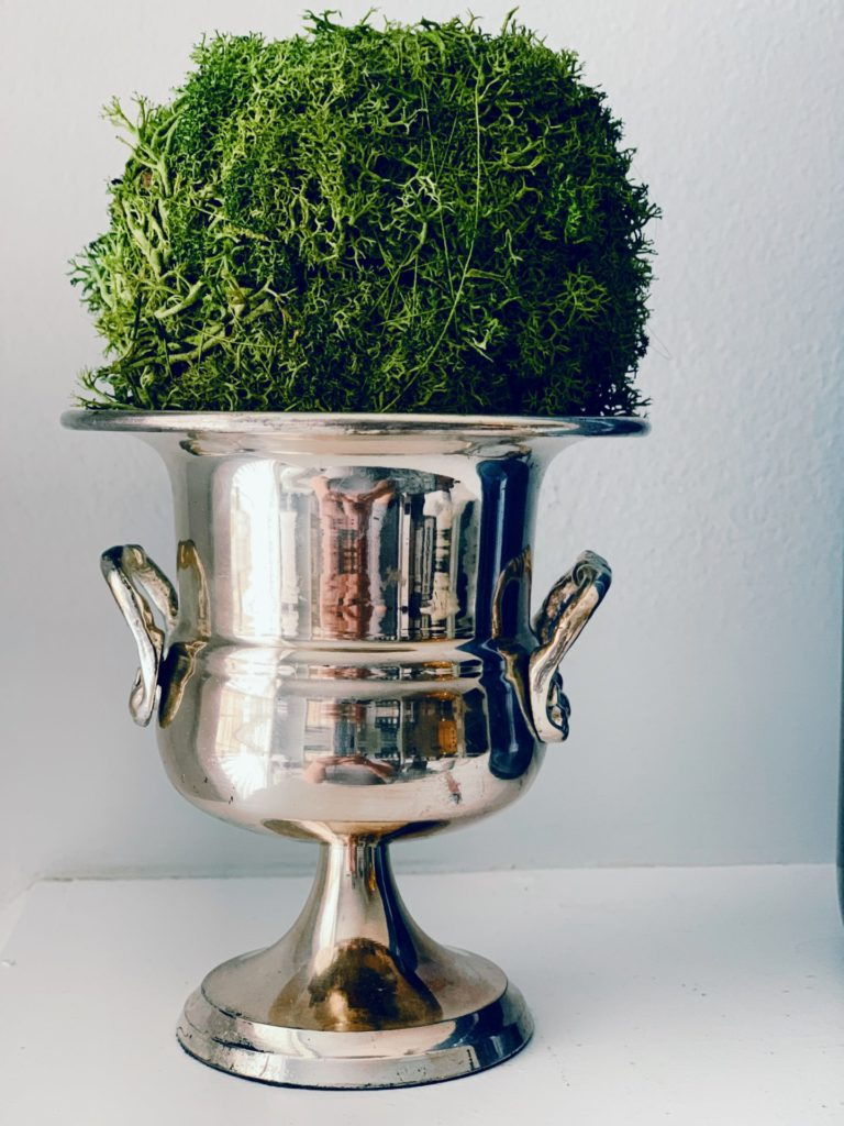 Moss Ball in a miniature champagne bucket