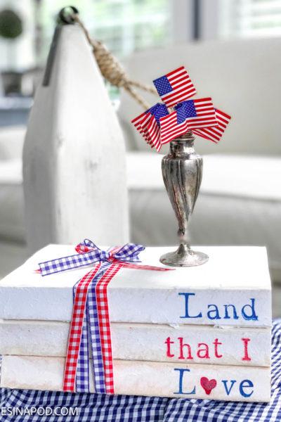 Patriotic Stamped Book Stack