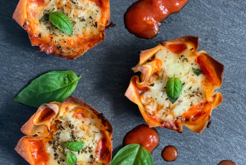 Pizza Wonton Cups - Delicious and Easy to Make - fresh basil