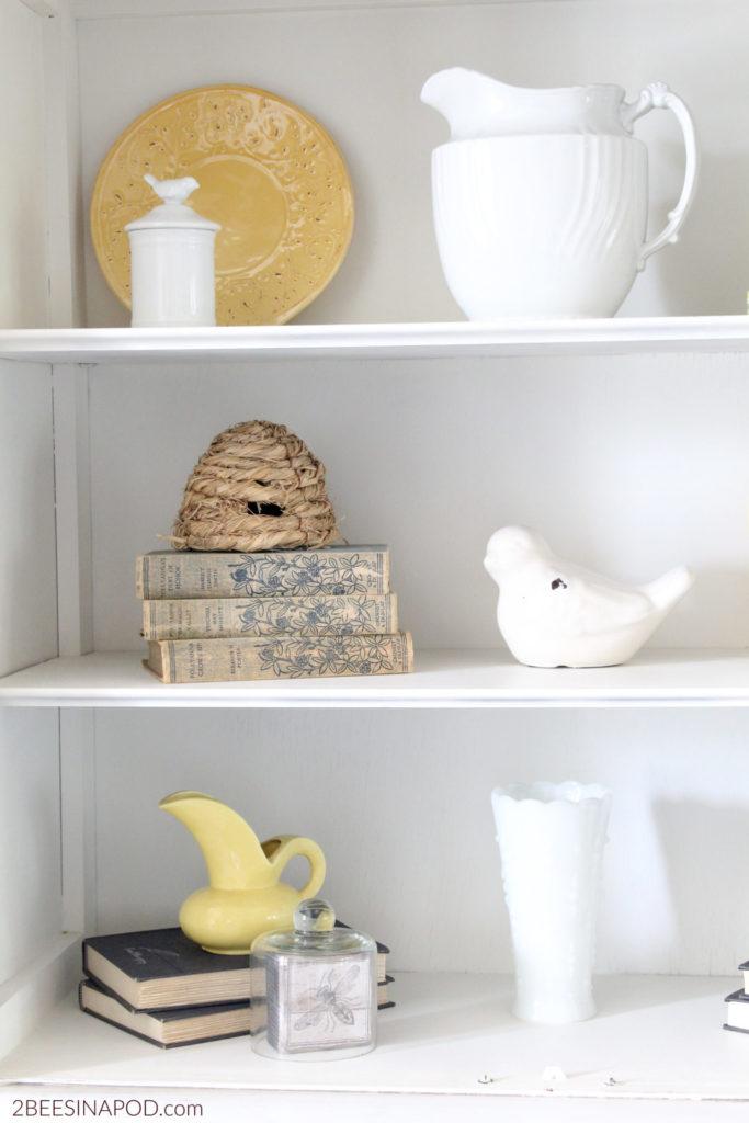 Close up of secretary shelves