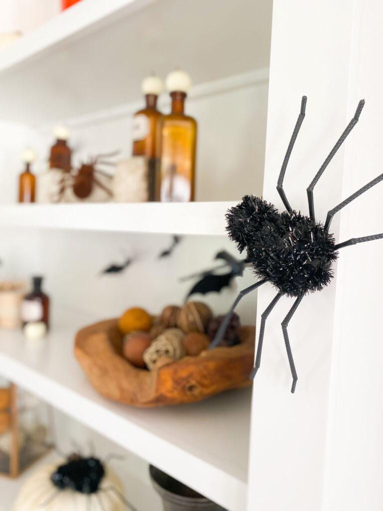 faux spider decor