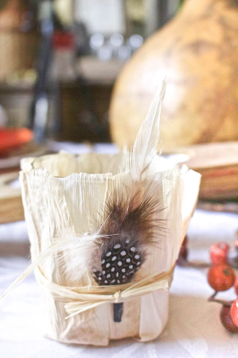 Easy Cornhusk and Feather Votives